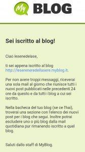 mail conferma iscrizione al blog